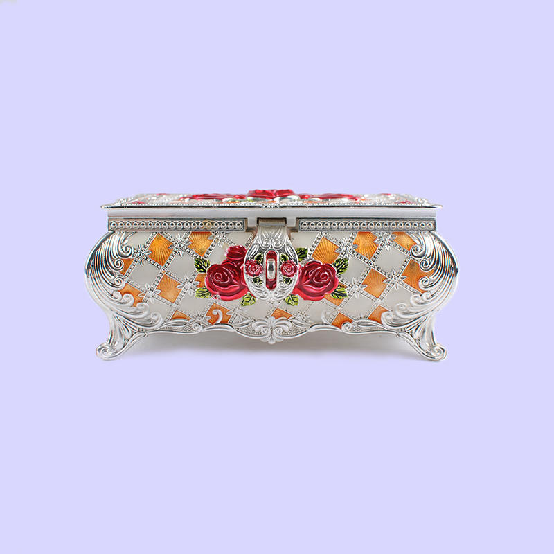 European red rose three-dimensional carved jewelry box