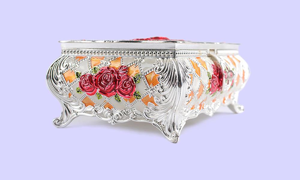 home storage carved metal jewelry box useful Xinglin