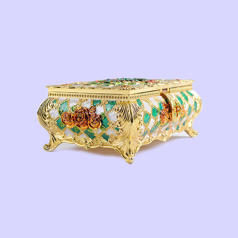 European Peacock Rose Three-dimensional Carved Jewelry Box