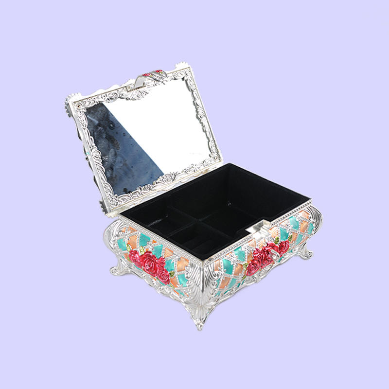 European Castle Rose Three-dimensional Carved Jewelry Box