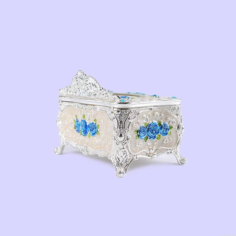 European fashion three-dimensional carved blue rose tissue box