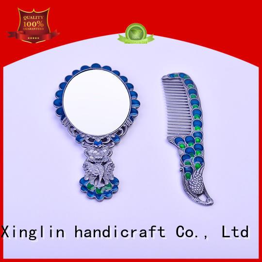 vintage mirror and comb set handle peacock Warranty Xinglin