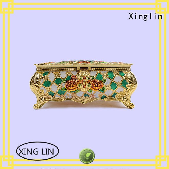 natural useful carved Xinglin Brand metal jewelry box