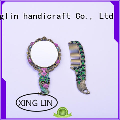 makeup retro brush comb and mirror set peacock Xinglin company