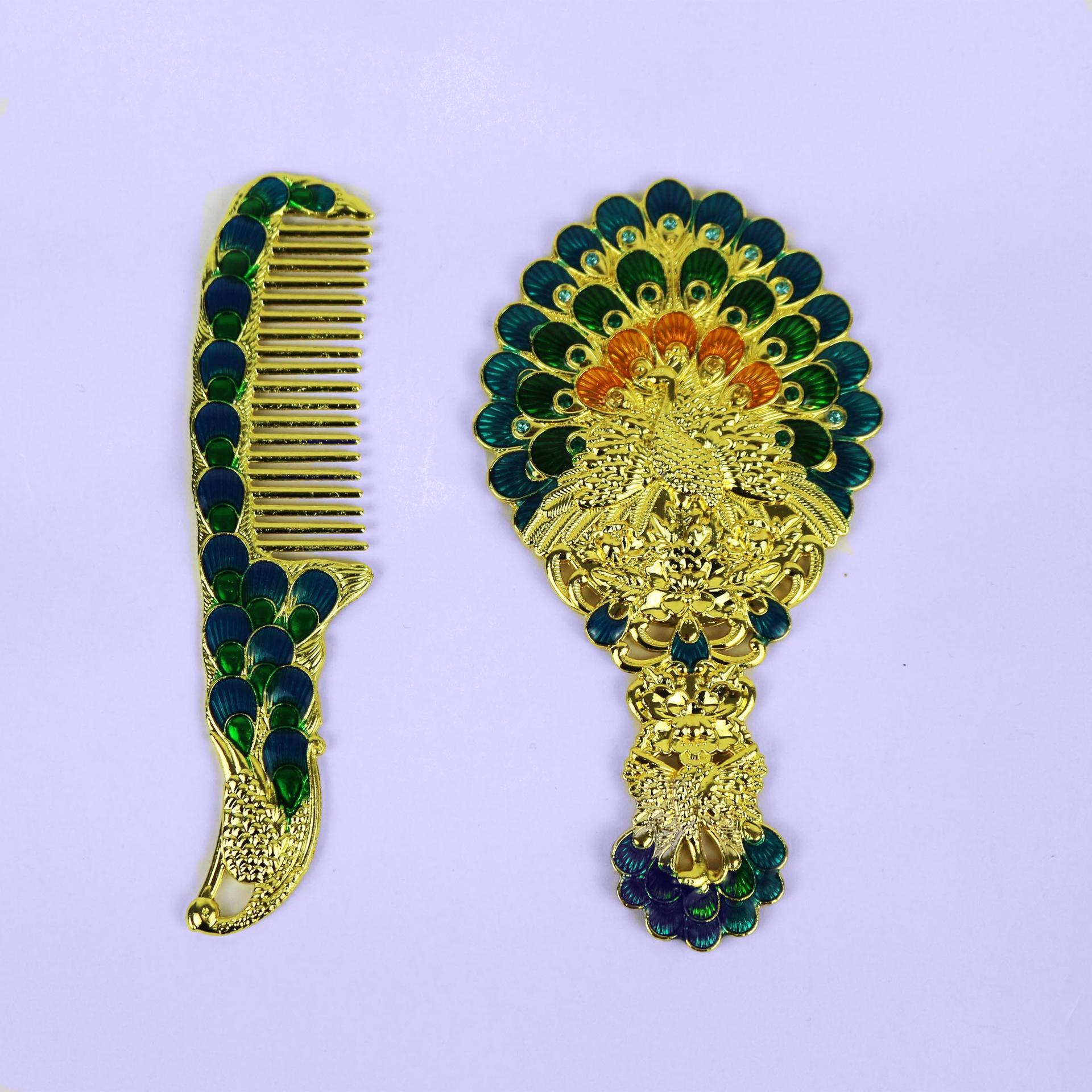 European retro peacock open mirror