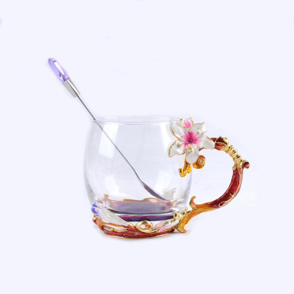 Lily flower pattern fashion glass cup