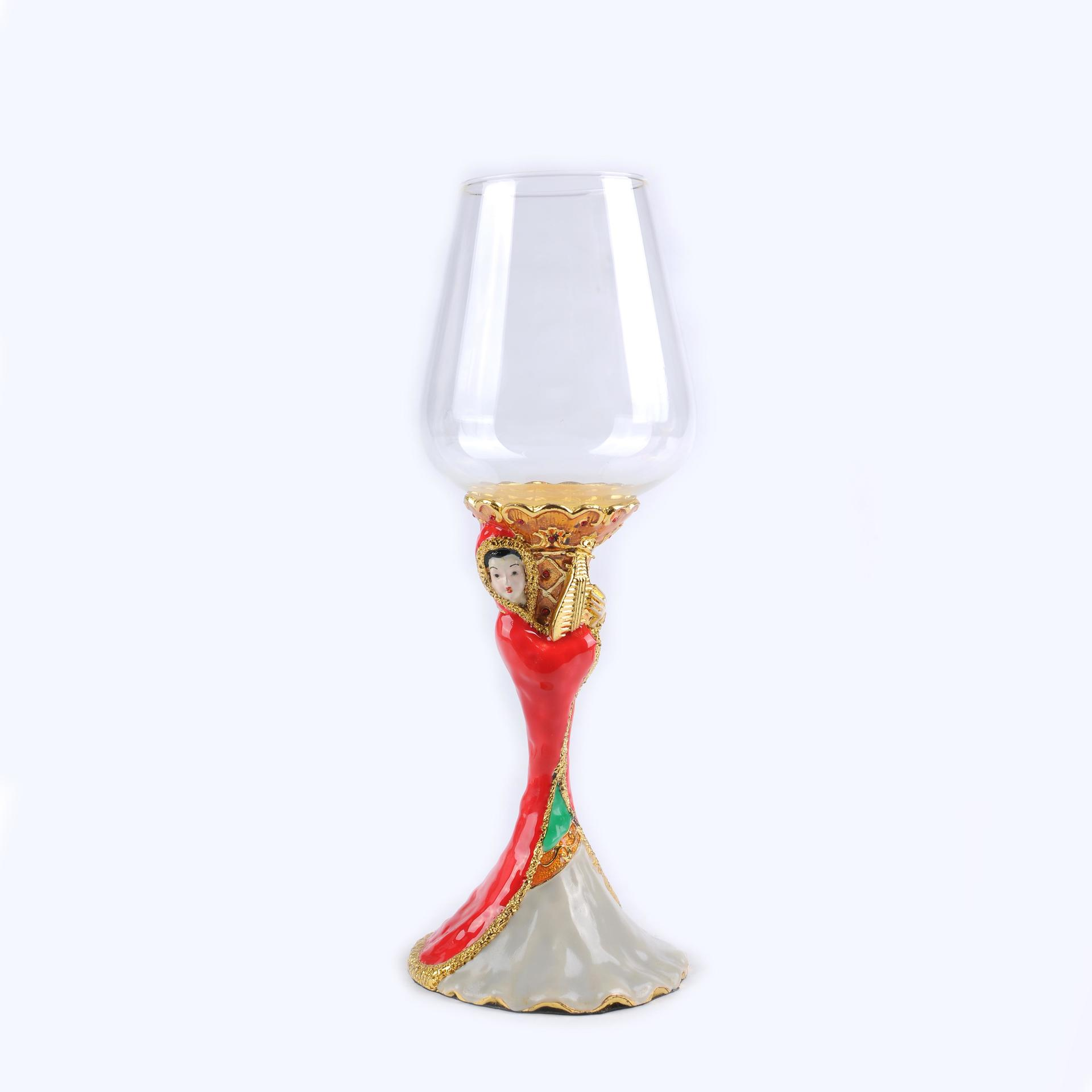 High-end red wine glasses with four beautiful women's patterns