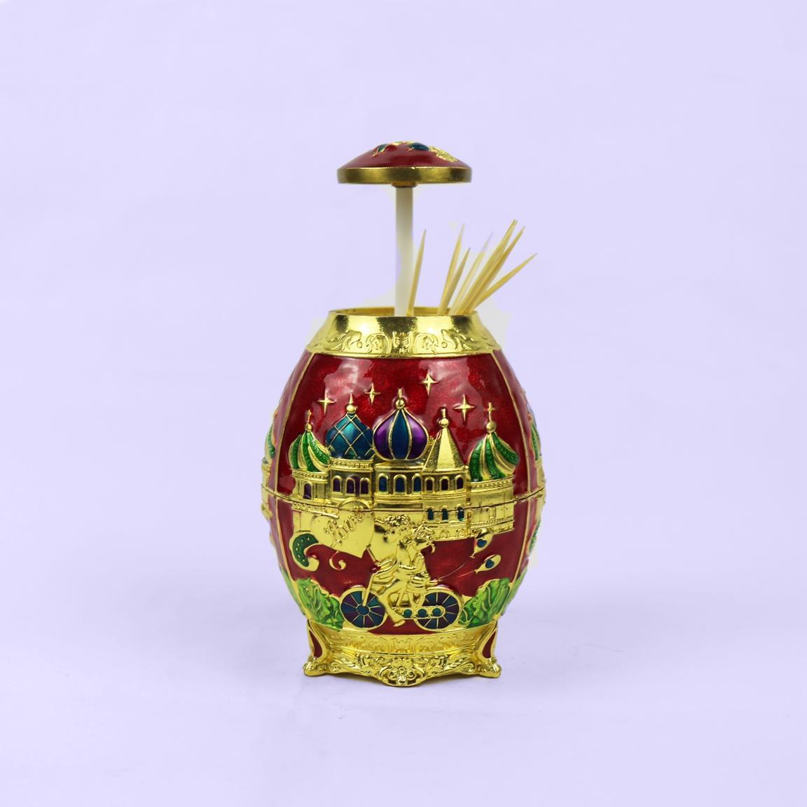 European retro purple egg shaped toothpick box
