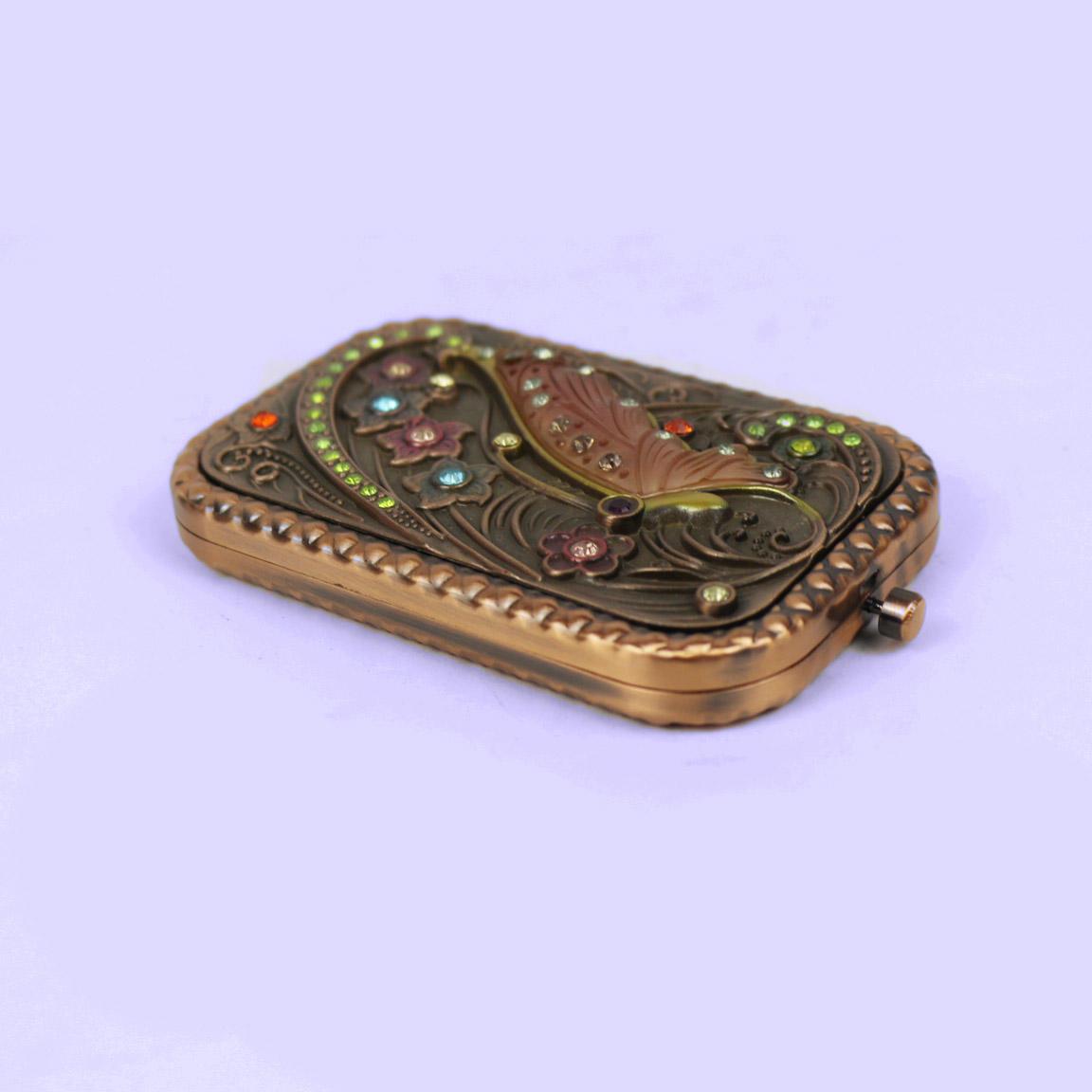European retro bronze double-sided mini mirror