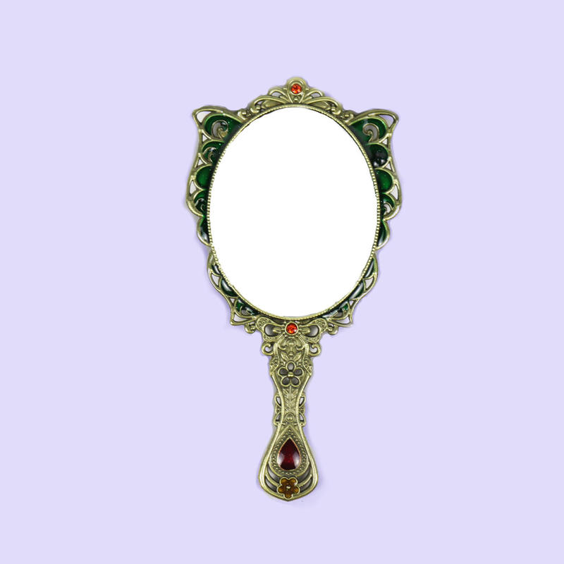European retro butterfly hand mirror