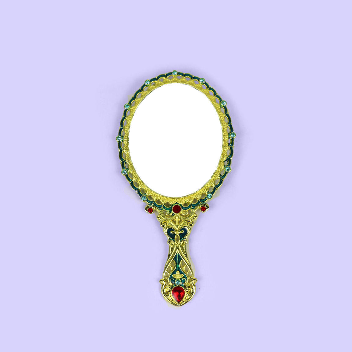 European retro rose hollow hand mirror