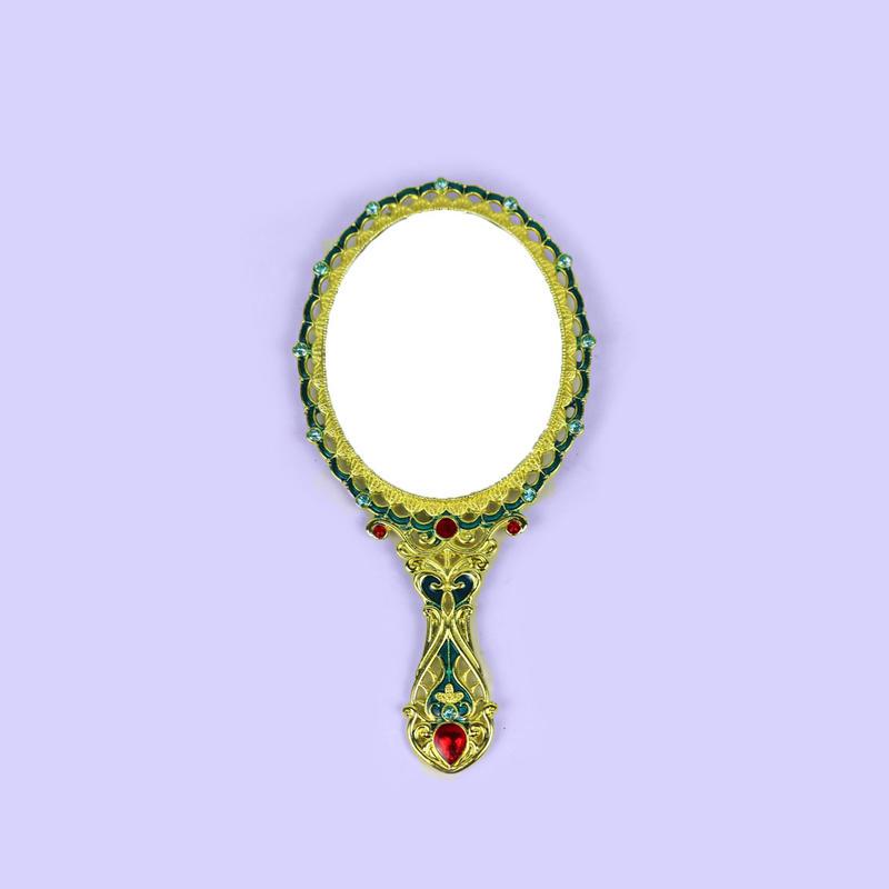 European retro rose hollow hand mirror