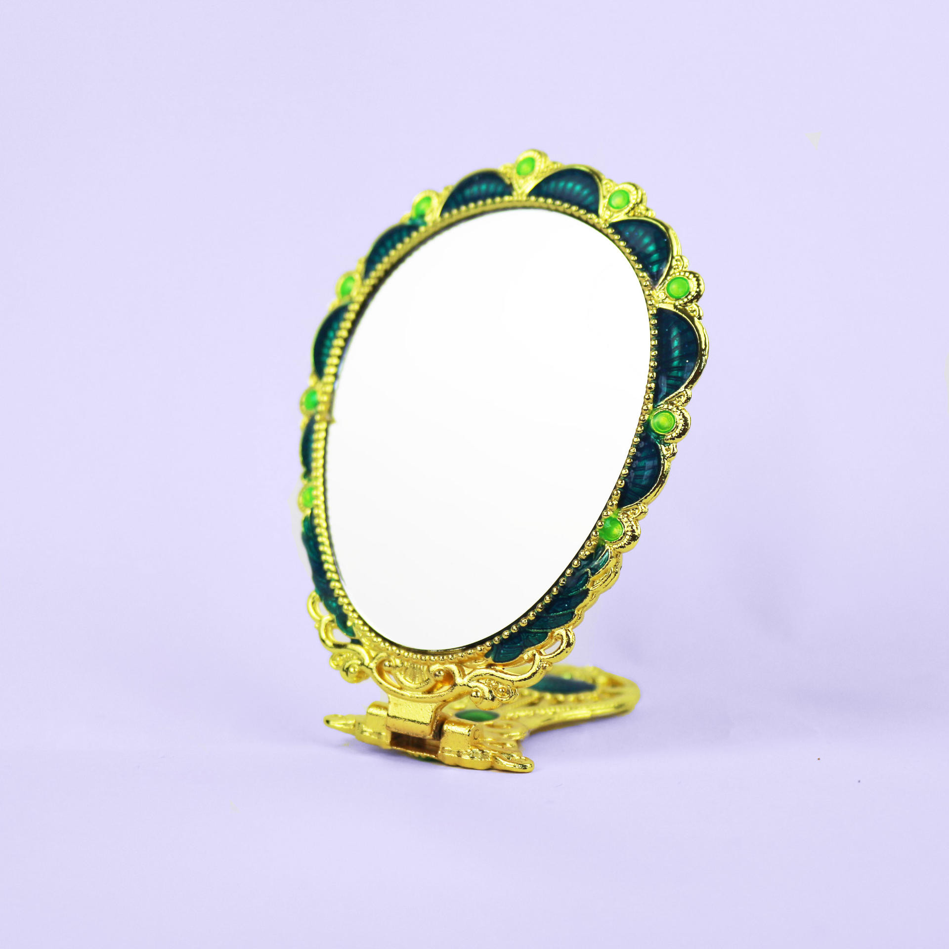 European vintage golden peacock mirror
