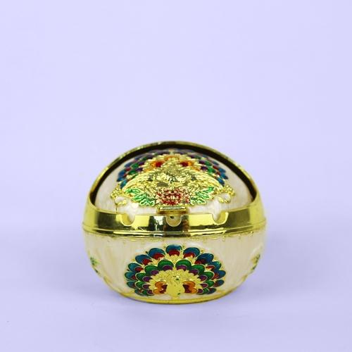 Gold and green vintage peacock ashtray