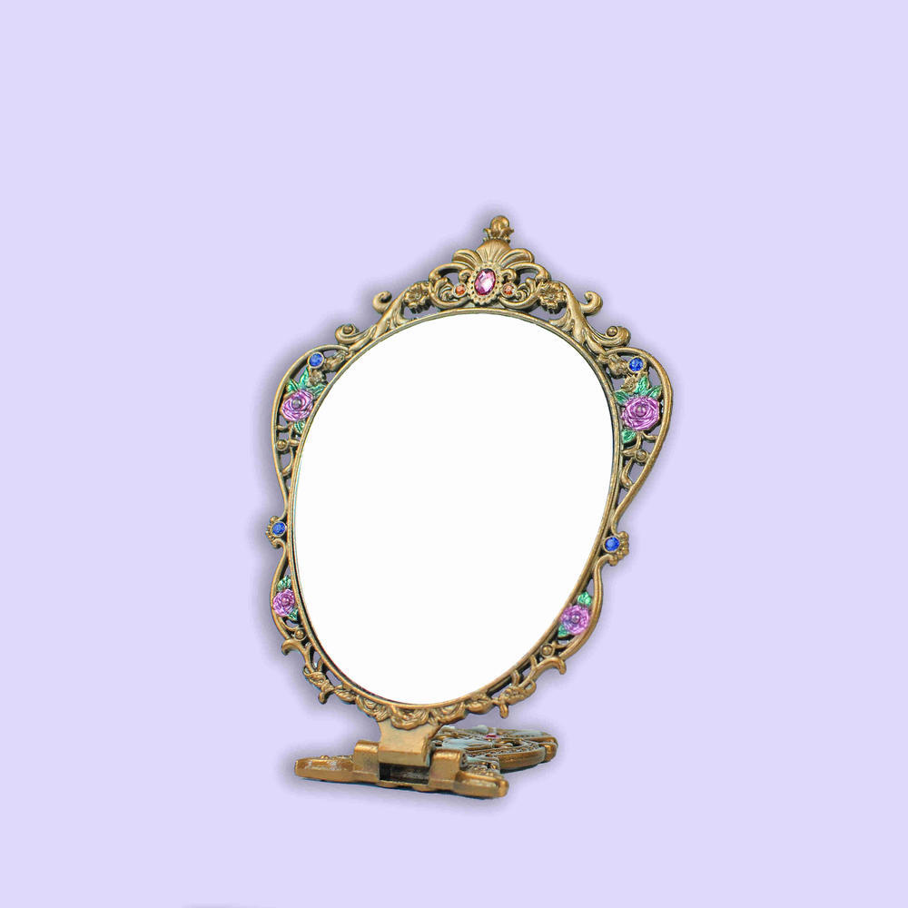 European vintage ancient rose pattern mirror