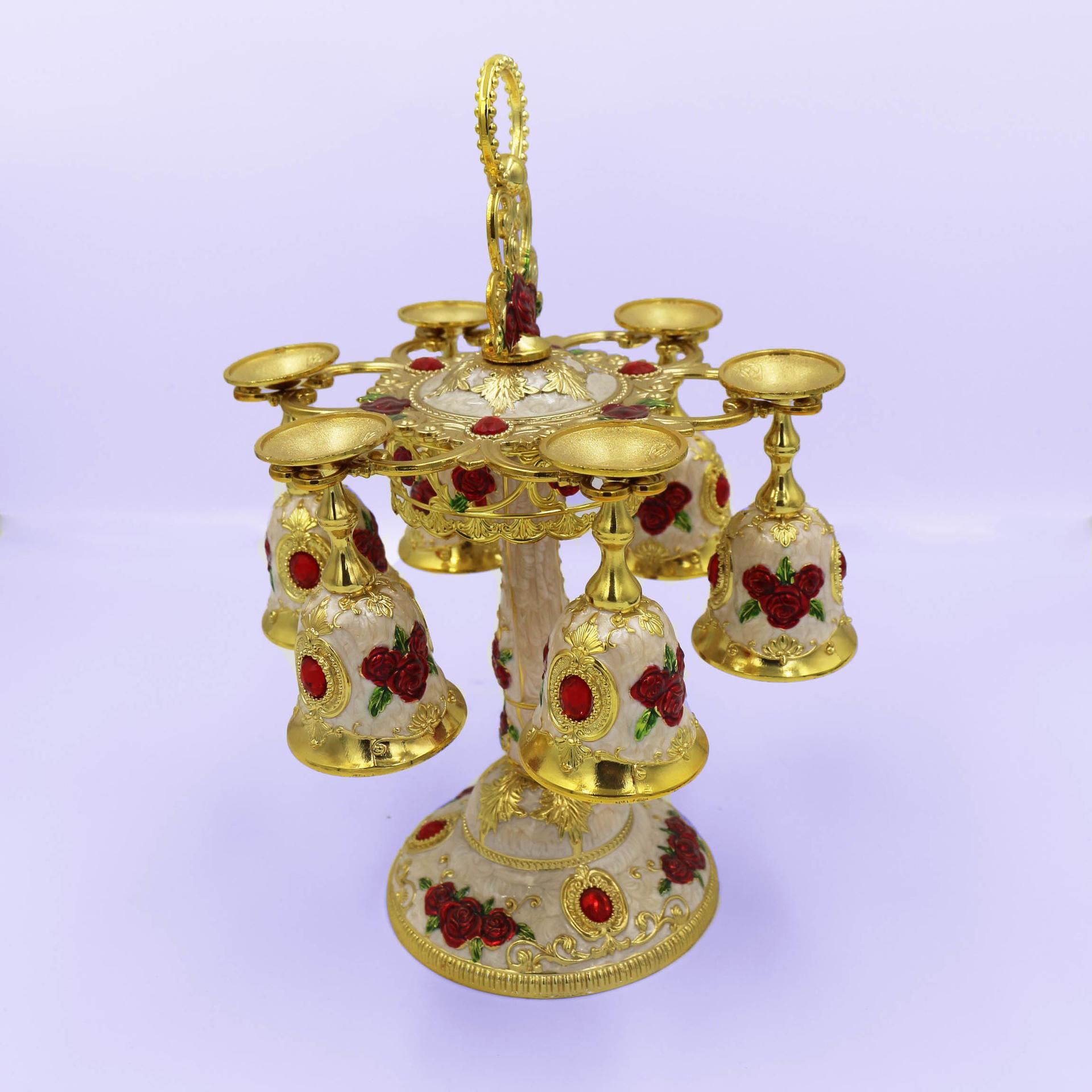 European retro wine glass set, wine glass wine rack creative ornaments