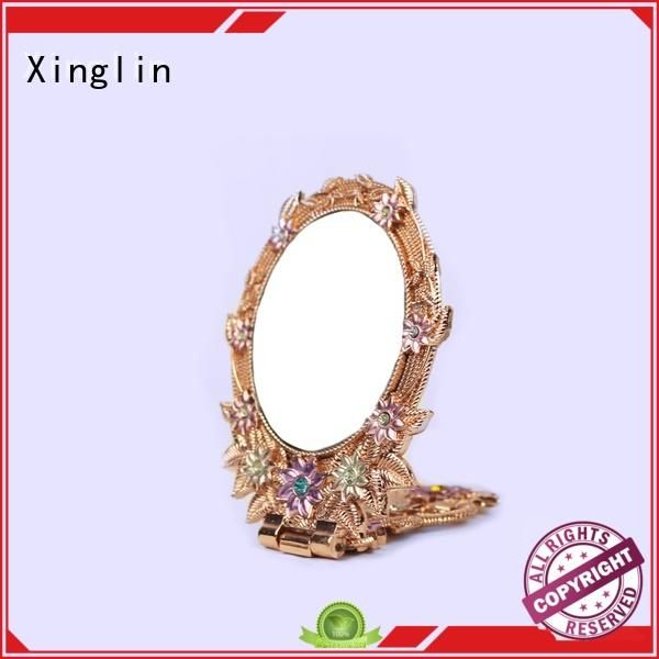 hot sale vintage wood hand mirror high quality for wedding Xinglin