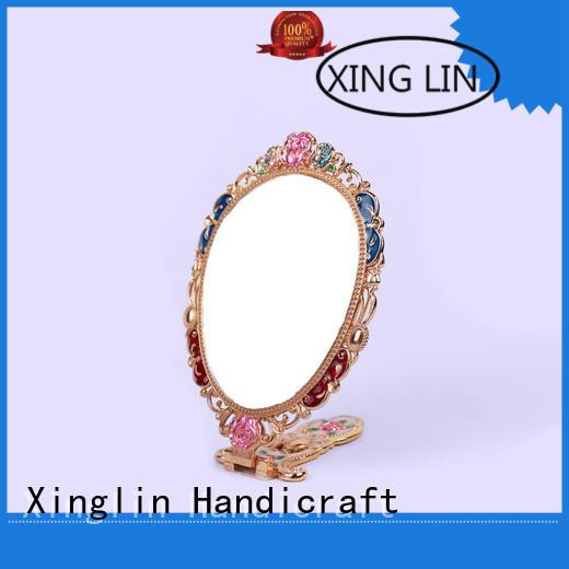 Xinglin peacock antique gold hand mirror company for wedding
